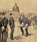 Eksempel på status-stripping (cashiering) og degradering i militæret: Dreyfusskandalen